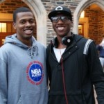 Ever the comedian Nolan Smith poses with incoming Duke freshman Tyler Thornton - copyright BDN Photo