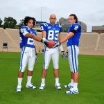 Blue Devils star wideouts ready for Elon.  Pictured are Donovan Varner Austin Kelly and Conner Vernon.  Photo copyright Blue Devil Nation