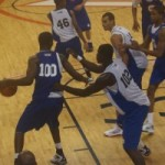 Adams defends the paint during the NBAPA Top 100 Camp earlier this year