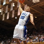 Dawkins throws down a dunk on his way to 20 points Sarturday evening as Duke defeats St. Aug's 141-68