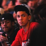 Quin Cook and Austin Rivers take in the action at Countdown to Craziness - BDN Photo, Rick Crank