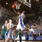 Irving drives during Duke's exhibition win - Photo courtesy of Duke Photo and GoDuke.com