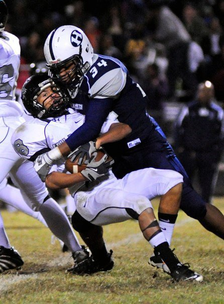 Hillside's Jamal Marcus makes a tackle