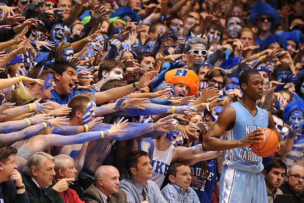 The Cameron Crazies took it easy on Harrison Barnes, mainly due to Kyle Singler slowing him down.  Photo - Lance King for BDN