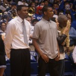 Rasheed Sulaimon takes in a Duke  warm up with Nate James - copyright BDN Photo