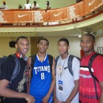 Jones #8 posing with Rasheed Sulaimon (left) and LJ Rose and Rodney Purvis to his right.  copyright BDN Photo