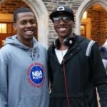Tyler Thornton picture here with Nolan Smith, will run the point with Curry in China - copyright BDN Photo