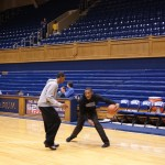 Matt Jones and Rasheed Sulaimon go at it in Cameron before Countdown to Craziness - BDN Photo