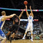 Almost.  Curry heaves a late three that rolls out and Duke heads back to Durham.  Lance King Photo