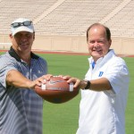 BDN&#039;s Mark Watson and Duke HC David Cutcliffe from Duke Football Photo Day in Durham.