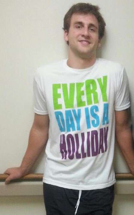 Duke football team member David Helton in EVERY DAY IS A HOLLIDAY t-shirt - photo copyright GoDuke