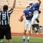 Duke WRs Conner Vernon and Jamison Crowder appeared in mid-season form in Duke's first scrimmage -BDN Photo