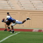 Duke redshirt-sophomore TE Issac Blakeney looked like a playmaker for the Blue Devil offense -BDN Photo