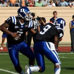 Anthony Boone had a 4 passing TD dream debut for Duke.  Photo Mark Watson