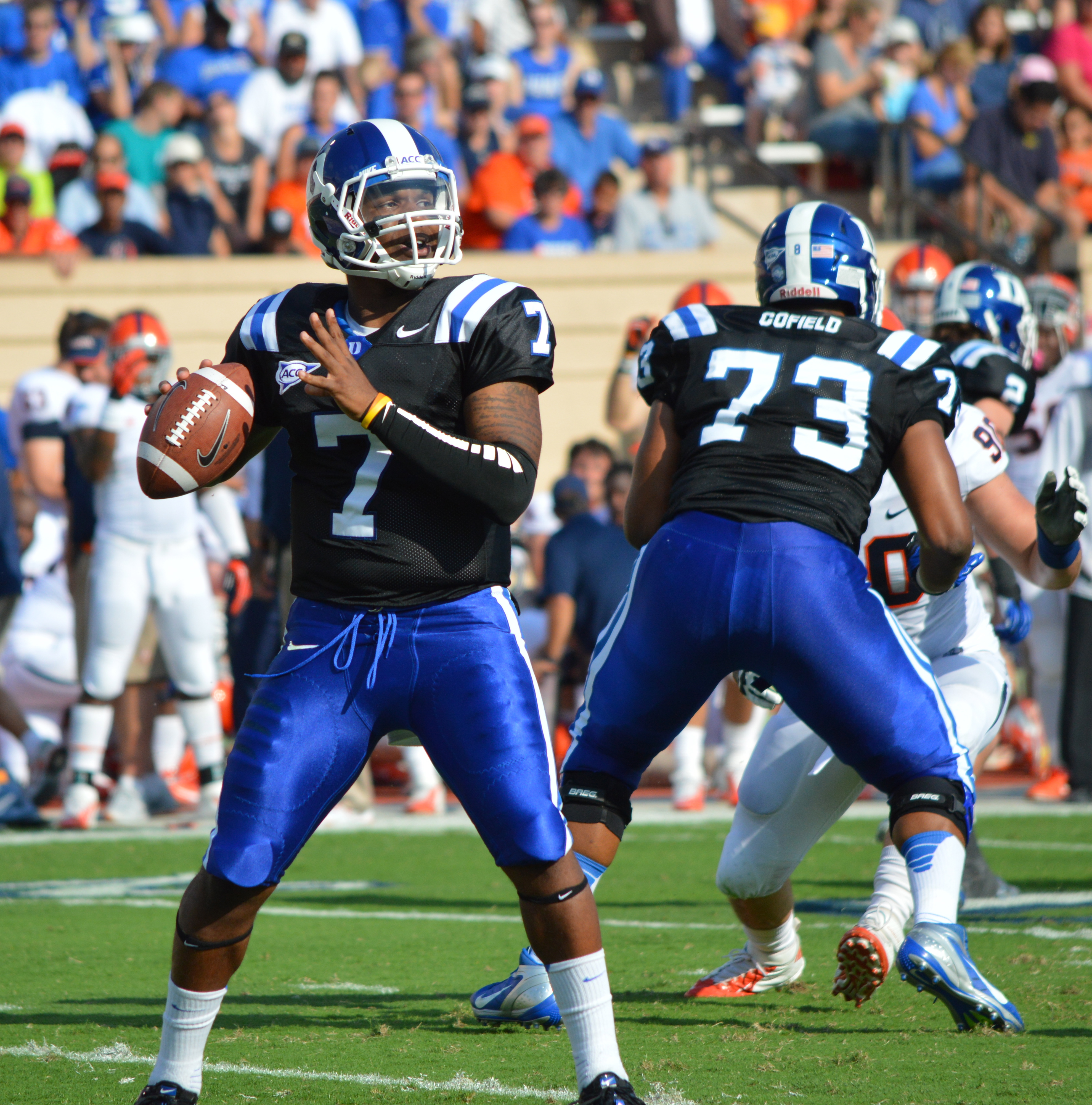 QB Anthony Boone led the Blue Devils to a 42-17 victory over Virginia - BDN Photo