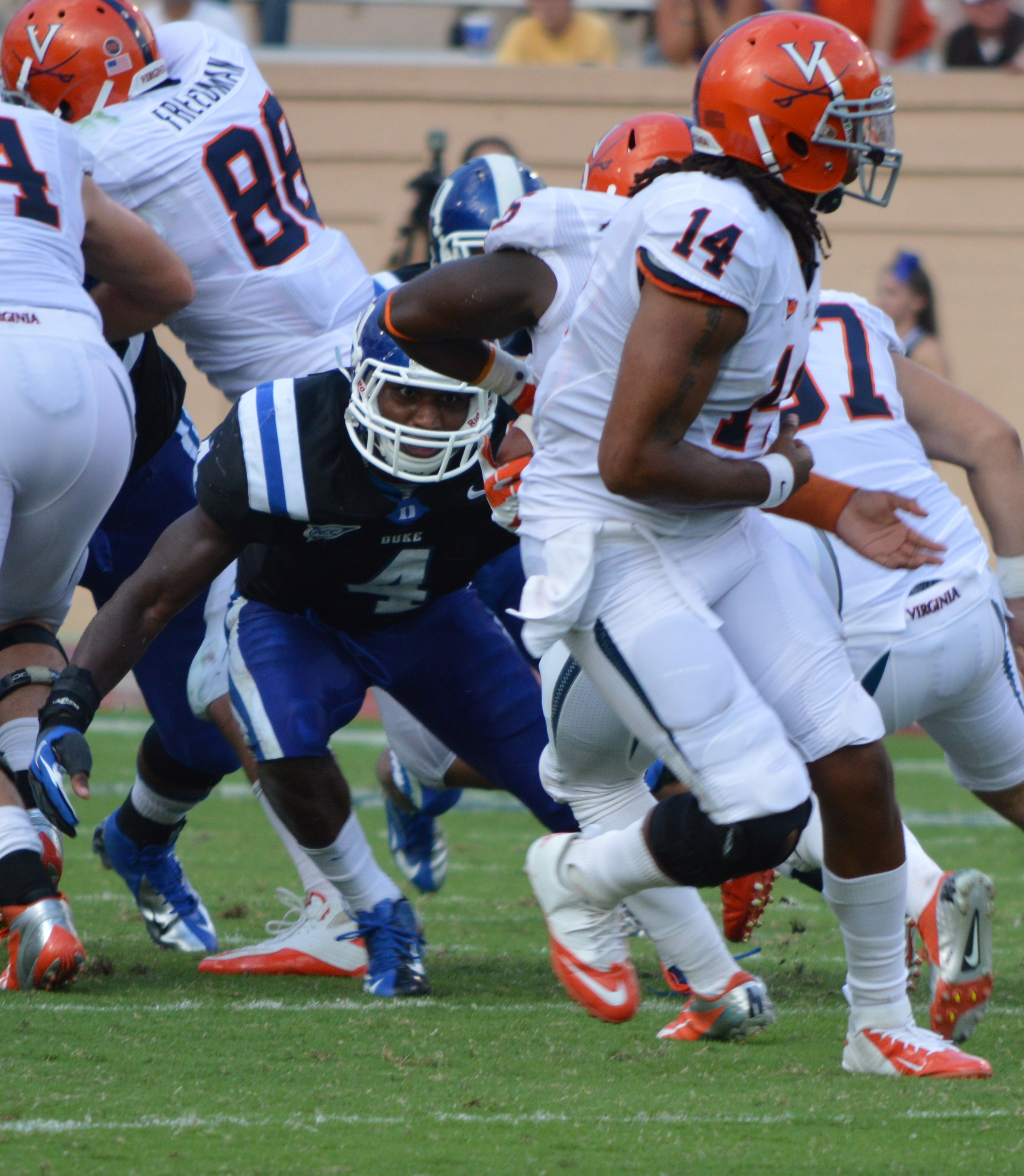 Duke S Walt Canty makes a big stop on 4th and 1 against Virginia - BDN Photo
