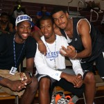 Amile Jefferson and Rodney Hood pose with Duke PG Quinn Cook - copyright Mark Watson BDN Photo