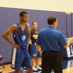 Rodney Hood being instructed by Duke HC Mike Krzyzewski.