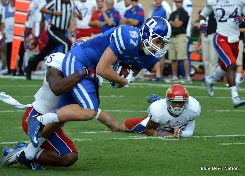 Duke WR Max McCaffrey hauled in 2 TDs on Saturday against Kansas.