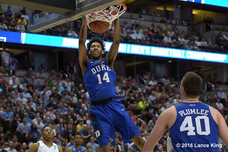 Brandon Ingram (14) of the Duke Blue Devils dunks against the Oregon Ducks during the West Regional Semifinal of the 2016 NCAA Men's Basketball Tournament at Honda Center on March 24, 2016 in Anaheim, CA. (Lance King/WRAL contributor)