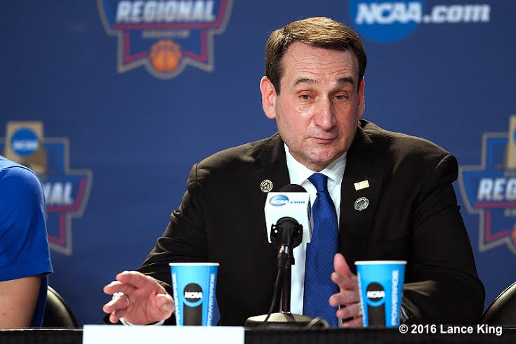 Head coach Mike Krzyzewski of the Duke Blue Devils addresses the media following their game against the Oregon Ducks during the West Regional Semifinal of the 2016 NCAA Men's Basketball Tournament at Honda Center on March 24, 2016 in Anaheim, CA. (Lance King/WRAL contributor)