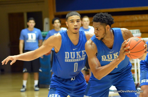 Duke Basketball held it's first open practice on Saturday.  Pictured here is Jayson Tatum defensing Marques Bolden.