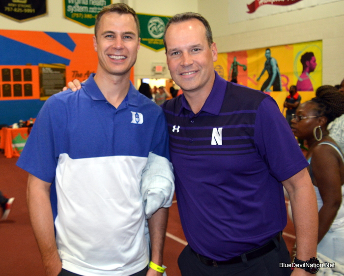 Jon Scheyer and Chris Collins at the Nike EYBL Session I in Hampton, Virginia